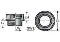SVT M63x1,5/48 Verschraubung, teilbar, schwarz 83651282