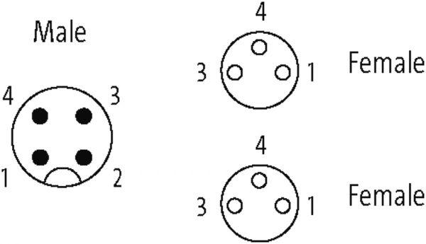 M12 St. Y-Verteiler / 2x M8 Bu. 0°