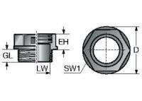 SVT M25x1,5/16 Verschraubung, teilbar, schwarz 83651264