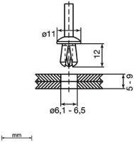 Unex 1309 Kunststoffspreiznieten 9mm 1309