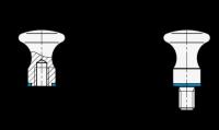 FLACHER KNOPF, HYGIENIC DESIGN 75.6-20-M5-D-MT