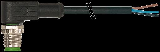 M12 St.gew mit freiem Leitungsende 3p.Dual-Keyway