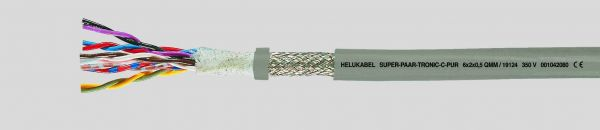 Daten-Schleppkettenleitung SUPER-PAAR-TRONIC-C-PUR® 6x2x0,75 mm² Grau