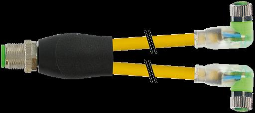 M12 Y-Vert. / M8 Bu. 90° LED