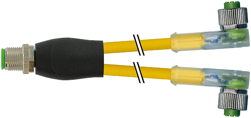 M12 Y-Vert. auf M12 Bu. gew. mit LED