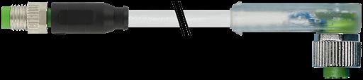 M8 St. ger. auf Bu. M12 gew. mit LED
