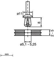 Unex 1305 Kunststoffspreiznieten 5mm 1305