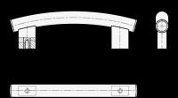 ALUMINIUM-ROHRBOGENGRIFF, NATURFARBEN ELOXIERT 666.4-30-M6-400-EL