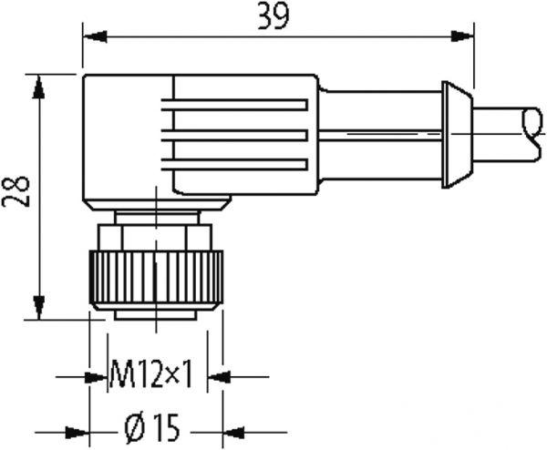 M12 Bu. gew. geschirmt mit freiem Ltg.-ende F&B