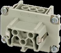 B6 Buchse 6-polig, Schraub, 500 V, 16 A 70MH-EB006-DS03020