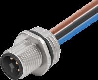 M12 Power T-kod. Flanschstecker Vorderwandmontage 7000-P7281-9410050