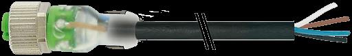 M12 Bu ger. mit LED freiem Leitungsende