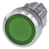 Drucktaster, beleuchtet, 22mm, rund, grün, Druckknopf 3SU1051-0AB40-0AA0