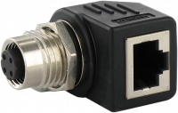 M12 Bu. D-cod. / RJ45 Ethernet-Adapter 90° 4-pol. 7000-44681-0000000