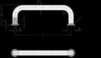 EDELSTAHL-BÜGELGRIFF (A4), MIT AUFLAGESCHEIBEN 425-A4-10-120-GS