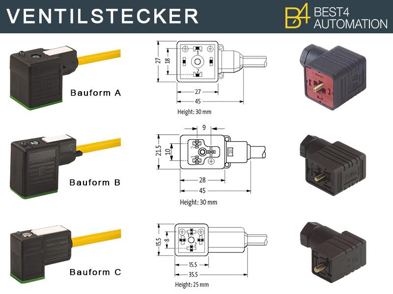 Ventilstecker der Bauform A, Bauform B und Bauform C