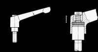 VERST.KLEMMHEBEL M.SCHRAUBE, ROT-STRUKTURMATT 300-108-M12-120-RS