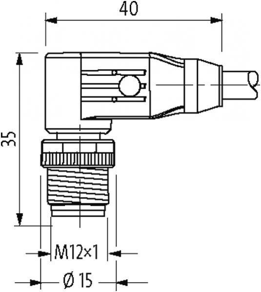 M12 St. 90° freies Ltg.-ende