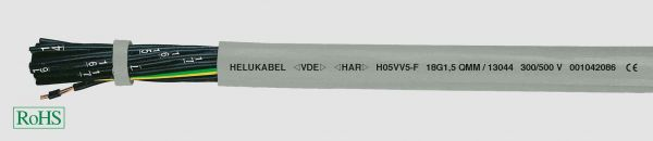 PVC-Steuerleitung H05VV5-F 2x0,75 mm² Grau