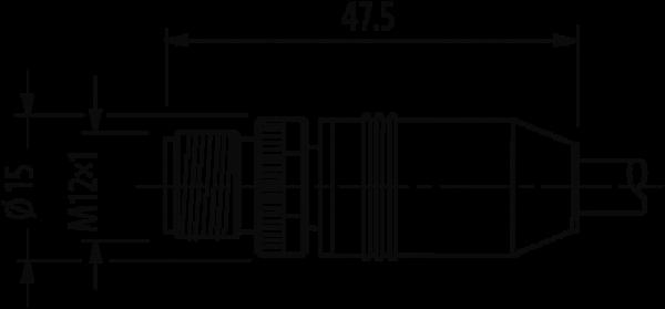M12 St.0°/ M12 Bu.0°geschirmt B-cod.Profibus