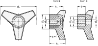 ELESA-DREISTERNGRIFF 5330-100-M12-E
