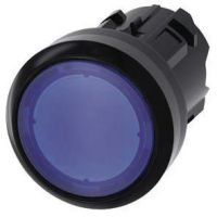 Drucktaster, beleuchtet, 22mm, rund, blau, Druckknopf 3SU1001-0AB50-0AA0