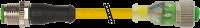 M12 St. ger. auf M12 Bu. ger. mit LED 7000-40311-0340060
