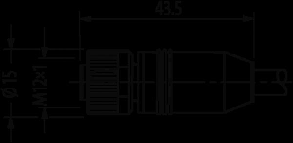 M12 St. 90° / M12 Bu. 0° geschirmt, Ethernet