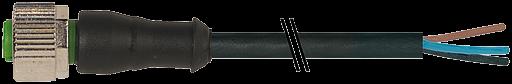 M12 Bu.ger mit freiem Leitungsende 3p.Dual-Keyway