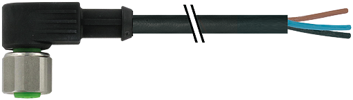 M12 Bu.gew mit freiem Leitungsende 3p.Dual-Keyway